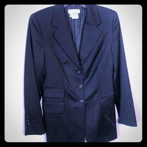 Escada silk pinstripe black blazer euo 44